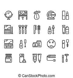 化粧品, set., イラスト, アイコン, ベクトル