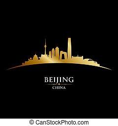 北京, シルエット, 都市 スカイライン, 黒い背景, 陶磁器