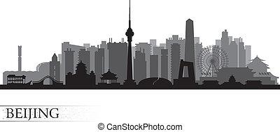 北京, スカイラインのシルエット, 都市