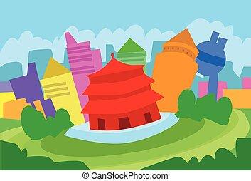 北京, 抽象的, スカイライン, 都市, 超高層ビル, シルエット