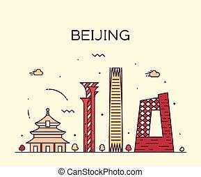 北京, 線である, イラスト, スカイライン, ベクトル, 最新流行である