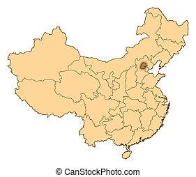 北京, 陶磁器, ハイライトした, 地図
