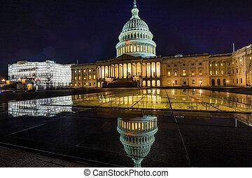 北方, 州議會大廈, 邊, 華盛頓, 夜晚, 我們, 反映, dc