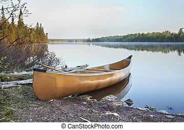 北方, 独木舟, 光, 湖, 黄色, 明尼苏达, 早, 岸, 早晨
