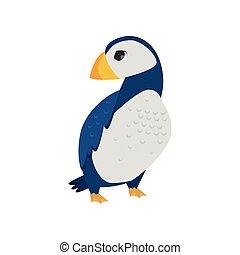 北極, カラフルである, 隔離された, ツノメドリ, 大西洋, 背景, くちばし, 白い鳥
