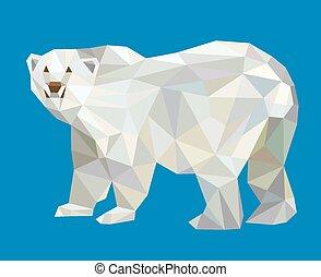 北極, スタイル, 低い, 熊, 多角形