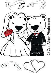 北極, セット, 漫画, 熊, 結婚式