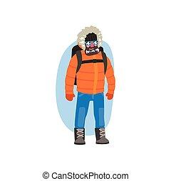 北極, 冬, 遠征隊, 北極である, 衣服, イラスト, ベクトル, 背景, 白い男性, 探検家