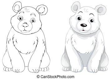 北極, 動物, アウトライン, 熊, いたずら書き