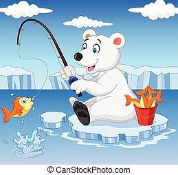 北極, 漫画, 熊, 釣り