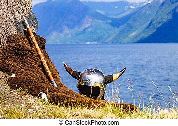 北欧海盗头盔, fjord, norway, 岸