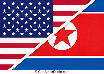 北, アメリカ, ∥間に∥, 国民, countries., 2, textile., 関係, アジア人, ∥対∥, アメリカの旗, 韓国