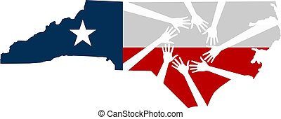 北, イラスト, 助力, ベクトル, 手, カロライナ