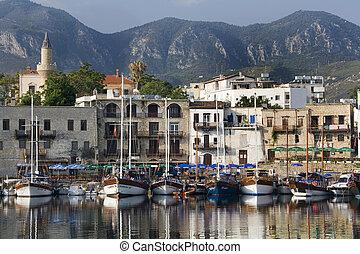 北, トルコ語, kyrenia, -, 港, 共和国, キプロス