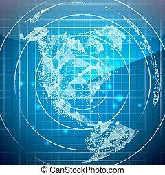 北, レーダー, スクリーン, map., バックグラウンド。, america., vector., デジタル世界, 技術