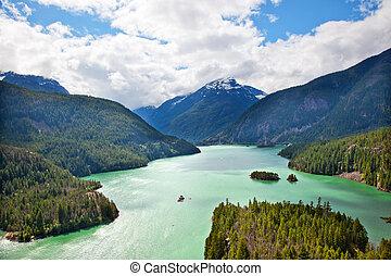北, ワシントン, 国立公園, 湖, 太平洋, diablo, 波状レース飾り, ボート, 北西