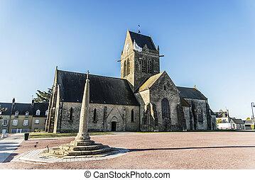 北, eglise, 地域, フランス, ノルマンディー, st., mere