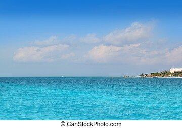 北, mujeres, メキシコ\, cancun, isla, 浜