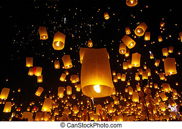 北, yeepeng, balloon, chiangmai, /, fire/, タイ