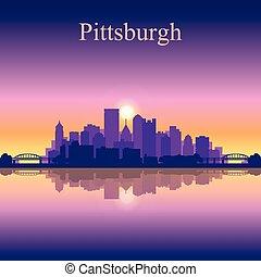 匹茲堡, 城市地平線, 黑色半面畫像, 背景