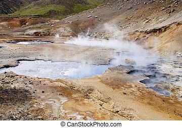 区域, カラフルである, アイスランド, -, 地熱, 風景
