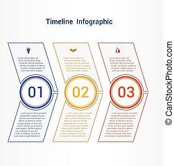 区域, タイムライン, チャート, 3, position., テンプレート, infographics, ∥あるいは∥