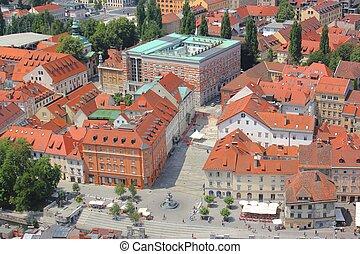 区域, 中心, novi, -, trg, スロベニア, 歴史的, ljubljana