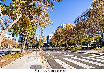 区域, 湾, 谷, 目に見える, 終わり, 通り, ダウンタウンに, san, 両方とも, の上, francisco, jose;, 内側を覆われた, オフィス, sides;, 南, 建物, アメリカスズカケノキ, 木, ケイ素