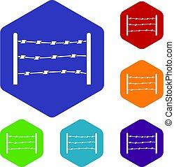 区域, 限られた, 六角形, セット, アイコン