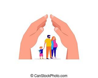 区域, family., 概念, 保護しなさい, イラスト, ベクトル, 滞在, あなたの, 家, 検疫
