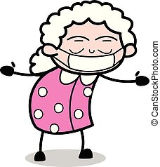 医学的描述, 脸, 矢量, 祖母, -, 老妇女, 卡通漫画, 伪装