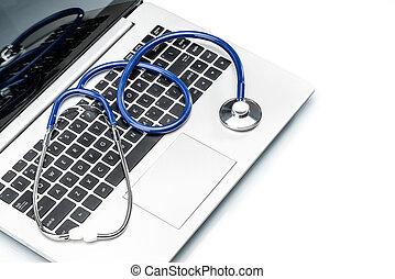 医学研究, 聴診器, 上に, ラップトップ キーボード