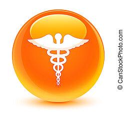 医学, アイコン, ガラス状, オレンジ, ラウンド, ボタン