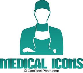 医学, アイコン, 外科医, 医者