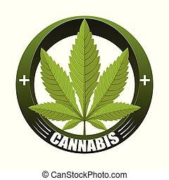 医学, インド大麻, ロゴ, 葉