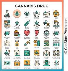 医学, インド大麻, 線, アイコン, 概念