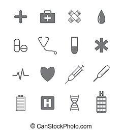 医学, セット, アイコン