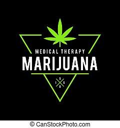 医学, デザイン, インド大麻, 健康, 型, 療法, ラベル, マリファナ