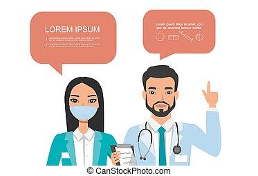 医学, ポーズを取る, 人々, doctors., 漢字, セット, 恋人, 病院, 泡, speach, 様々, チーム, concept.