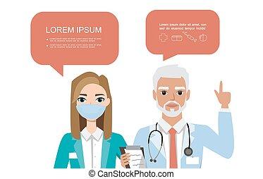 医学, ポーズを取る, 人々, doctors., 特徴, セット, 恋人, 病院, 泡, speach, 様々, チーム, concept.