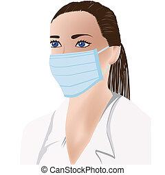 医学, マスク, 女性の医者