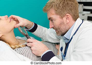 医学, 使うこと, 集中される, loupe, 医院, 皮膚科医
