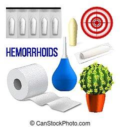 医学, 問題, hemorrhoids, セット, ベクトル, コレクション