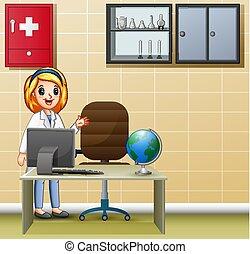 医学, 女性, オフィス, 医者