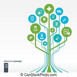 医学, 木, 概念, 成長, ヘルスケア, 健康