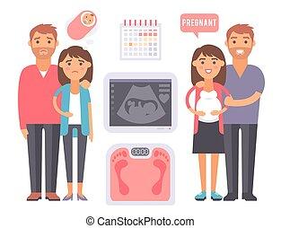 医学, 母性, 受精, ベクトル, 問題, infographic, サイン, プロセス, 待遇, 道具, 不妊症, 妊娠
