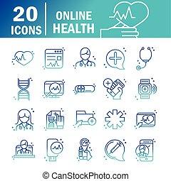 医学, 相談, 19, 健康, オンラインで, サポート, 線, セット, covid, アイコン, 援助, 勾配, pandemic