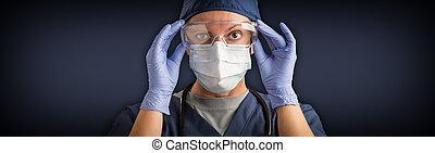 医学, 看護婦, 旗, ∥あるいは∥, 保護である, 女性の額面, ギヤ, 医者, マスク