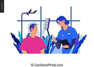 医学, blue-, テスト, イラスト, eeg
