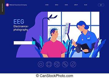 医学, blue-, テスト, テンプレート, eeg